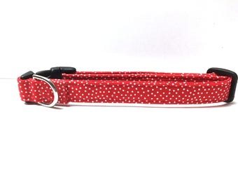 Naked Dog Collar- The Red Polka Dot
