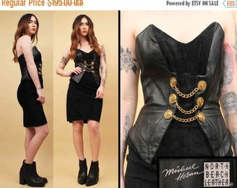 25% OFF 1DAY SALE 80s Vtg North Beach Leather Hoban Jet Black Suede & Gold Chain Mini Dress / Strapless Military Bustier Bodycon / Sm