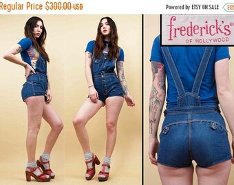 25% OFF 1DAY SALE 70s Vtg Denim Cotton Button Fly Suspender Overalls Romper / Jean Playsuit Glam Rock N Roll Fredericks of Hollywood Xs