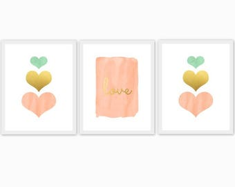 peach, gold and mint baby girl's nursery art, children's room, watercolor, hearts, love, set of 3, mix and match, custom colors, arrows