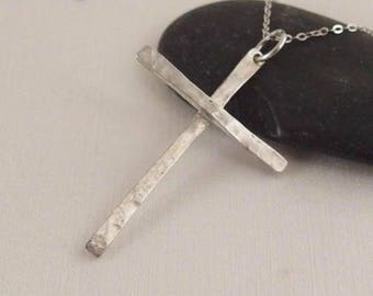 Delicate Christian Cross Pendant Necklace Jewelry Handmade in Lightly Hammered for Men or Women