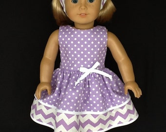 18 inch doll dress and headband. Fits American Girl Dolls. Purple and white retro  double ruffled dress.