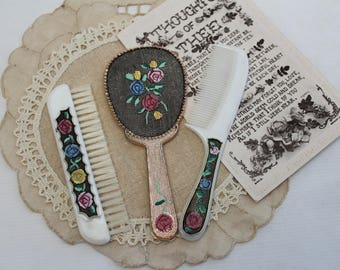 Vintage Vanity set - 1950s - Brush, Comb and Mirror - Floral