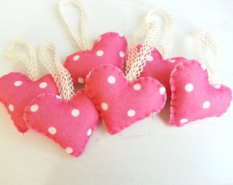 Color of Love  - Heart Ornaments  (Pink Dot) - Set of 6