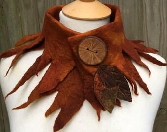 Elven Collar-Autumn Cowl- scarf-Woodland Felted Cowl --Felt forest Cowl -scarf --woodland scarf- bohoscarf-unique scarf