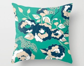 Pop Florals in Nautical Pillow Cover