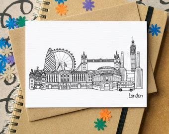 London Landmarks Greetings Card - London Skyline Art - London Art - blank London card - card for Londoner - London card