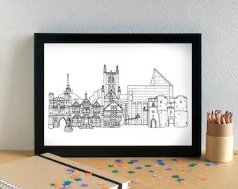 Canterbury Landmarks Print - Canterbury Skyline Art Print - Canterbury Wedding Gift - Canterbury Art Print - Canterbury Graduation Gift