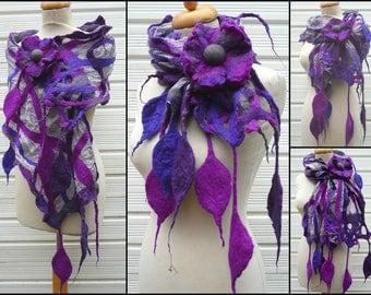 silk scarf, nuno felted scarf, merino wool, handmade, lagenlook, flowers, leaves, READY TO SHIP