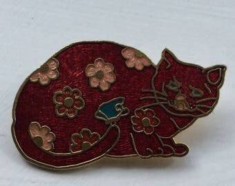 Vintage Red Cloisonne Cat Brooch