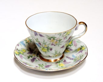 Lefton China Tea Cup n Saucer, Vintage Collectible Hand Painted Purple Yellow Blue Floral Chintz Pattern 695 Reg US Patent itsyourcountry