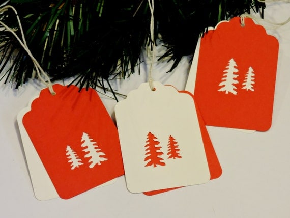 24 Woodland Tree Tags, Hand Punched Two-Piece Hidden Message Paper Christmas Red Cream Gift Hang Tags,Set of 8 CUSTOM 4 Susie itsyourcountry