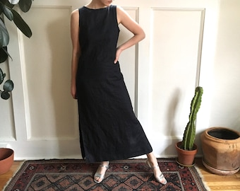 100% linen long black sleeveless dress - boat neck - medium