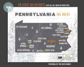 PA Ski Resorts, Map for Skiers, Pennsylvania Ski Map, Home office decor, Adventure Sports decor, Map for brother, Teenager Decor, PA Skiing