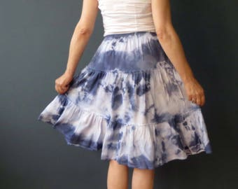 CLEARANCE Blue White Tie Dye Tiered Ruffle Cotton Skirt Small
