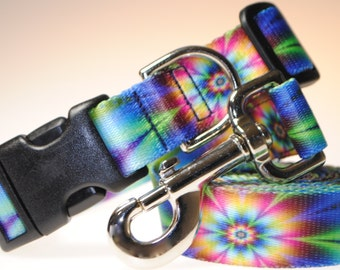 """Psychedelic Flowers Collar and Leash Combination - 1"""" Width"""