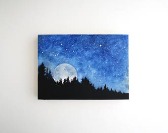 Moonrise Mixed Media Painting - 5 x 7