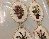 vintage janlyn flowers crewel  embroidery kit with plastic frames hanging plants