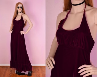 70s Cranberry Velvet Maxi Halter Dress/ Small/ 1970s