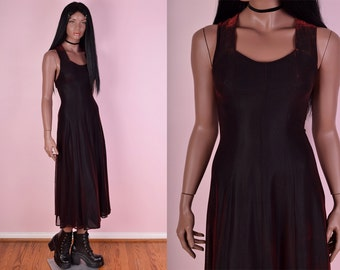 90s Black and Red Iridescent Maxi Dress/ Small/ 1990s/ Evening/ Formal/ Party