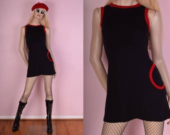 90s Does 60s Black and Red Mini Knit Dress/ Small/ 1990s