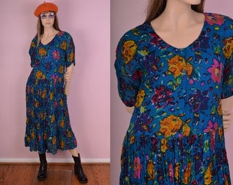 90s Colorful Floral Print Flowy Dress/ Medium/ 1990s