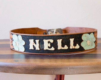 50s 60s La Nell Hand Tooled Hand Painted Leather Western Belt Size Medium