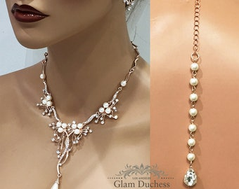 Bridal jewelry set, Wedding jewelry set, bridesmaid jewelry set, bridal necklace earrings, backdrop necklace, pearl necklace, prom jewelry