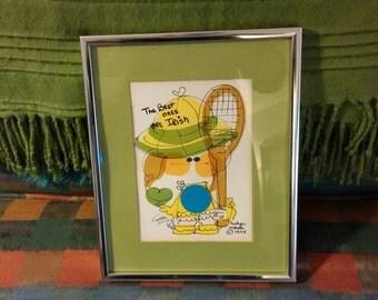 Lithograph, Vintage Lithograph, Painting, Wall Decor, Helyn Mann Art, Tennis Art, Retro Art, 1970s Art, Child's Room Decor, Framed Art