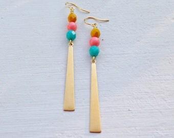 Long Boho Earrings/Boho Earrings/Bohemian Earrings/ Boho Chic/Long Gold Earrings/Gifts For Her/Coral Earrings/Turquoise Earrings