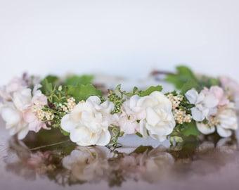 Ivory Flower Crown - Ivory Halo - Flowergirl hairpiece - Summer Wedding - Newborn Photo Prop - Wedding Crown - Floral Hairpiece