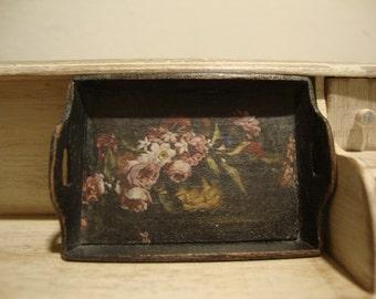 Miniature dollhouse wooden tray shabby chic