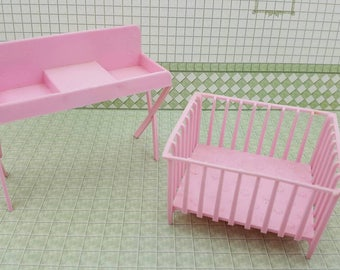 MPC Dollhouse Pink Change table and Playpen Furniture Multiple Plastics Corp Nursery Pieces pink soft plastic