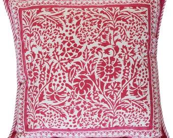 "Cotton Pillow cover - Flower Garden Coral -18"" x 18"""