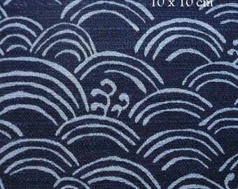 Tissu Japonais motif segaiha peint bleu marine- 50 cm