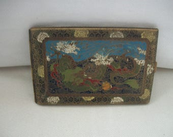 Vintage 1940's Japanese Metal Hand Painted Women's Cigarette Case