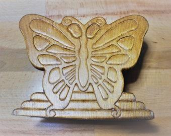 Wood Pressed Butterfly Napkin Holder - Letter Holder