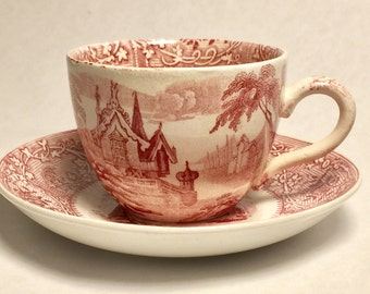 Antique Red Transferware Tea Cup and Saucer English
