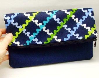 Foldover zipper clutch, zipper pouch, wedding purse, evening clutch, bridesmaid gifts set - Mickey (Ref. FZ6)