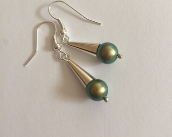 Silver cone and iridescent green earrings, cone and pearl earrings, Swarovski birthstone earrings, silver cone earrings, bridal jewelry,
