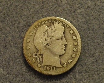Circulated 1911 Barber or Liberty Head SILVER Quarter. 90% SILVER