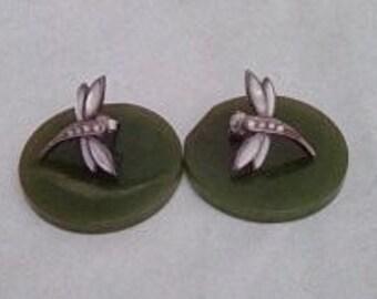 Vintage Sterling Silver Small Pierced Firefly earrings