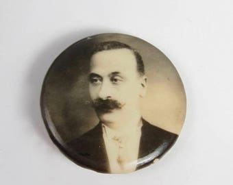 """Spring Cleaning SALE Antique Man w Huge Mustache Portrait Photo Button Pin Mourning 1"""" 1920s"""