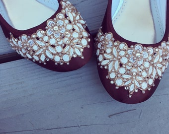 SALE - size 9 Chocolate Cherry Lace toe Bridal Ballet Flats