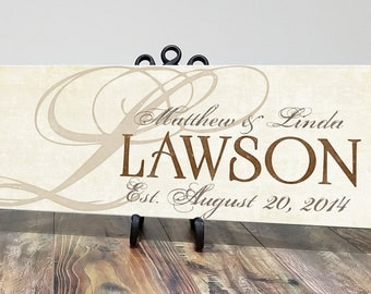 Personalized Wood Family Established Sign, Wood Last Name Sign,  Personalized Wedding Anniversary Gift