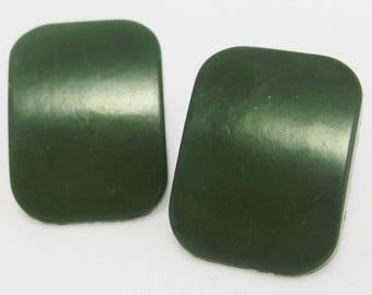 Bakelite Earrings - Handmade Earrings - Plastic Earrings - Forest Green Earrings - Pierced - Stud Earrings