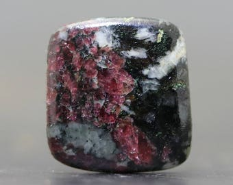 Eudialyte Gemstone Cabochon - Jewelry Lessons, Tutorial Cabs for Setting, Beading Ruby Red Inclusions, Natural Rock Matrix (CA8264)