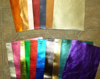 """Leather Samples All 17 Colors 4""""x6"""" Bright METALLIC Foil Cowhide 3-3.5 oz / 1.2-1.4mm PeggySueAlso"""