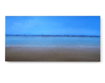 "XL Large Painting, Original Seascape Abstract Painting 24 X 48 ""The Big Swim"" Blue and Earth tones, Texture"