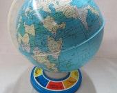 Vintage Metal Globe Ohio Art Company Lithograph Globe